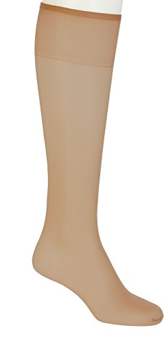Hanes Silk Reflections Sheer Toe Knee Highs 2-Pack, One Size, Barely There