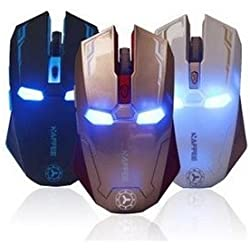 Silent Gaming Mouse Cool Design Professional Wireless Game Mice For Computer Peripherals including 2.4G Receiver Iron Man shape (White)