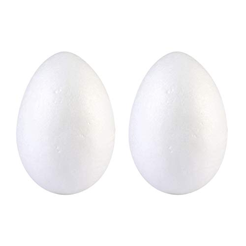 Amosfun 4pcs Natural White Styrofoam Eggs Craft Easter Foam Eggs for Kids Painting Easter Toys Easter Eggs Decorations (20cm)]()