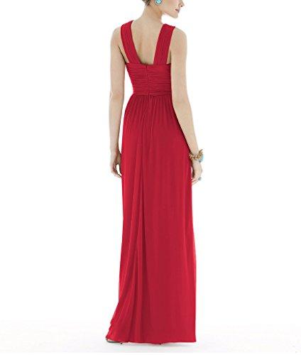 Ssyiz Mujer Elegante Vestidos V Cuello Plisado Dama de Honor de Boda de Noche de Fiesta(Privado Personalizado) Llama roja