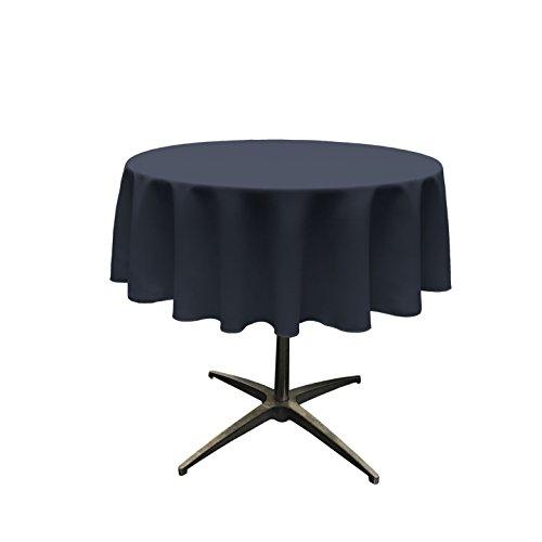 LA Linen Polyester Poplin Tablecloth 51-Inch Round, Navy