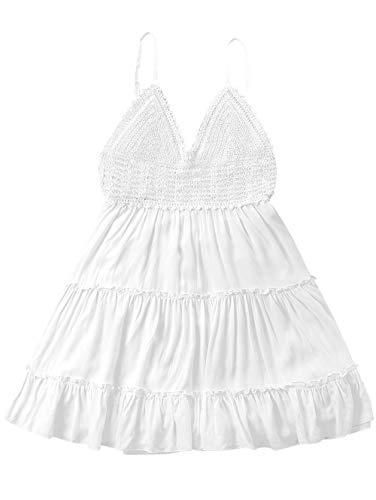 ZAFUL Women's Crochet Spaghetti Straps Summer Dress High Waisted Flare A Line Mini Dress(White-S)