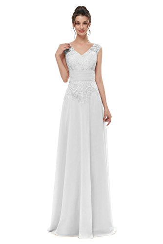 White Lace Applique V-Neck Mother of The Bride Dresses Chiffon Formal Party Gowns Long Size 20W -