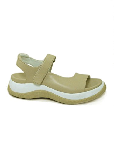 Fornarina Vintage Leather Sandals with Wedge Heel PEFRA2033WC Beige 40