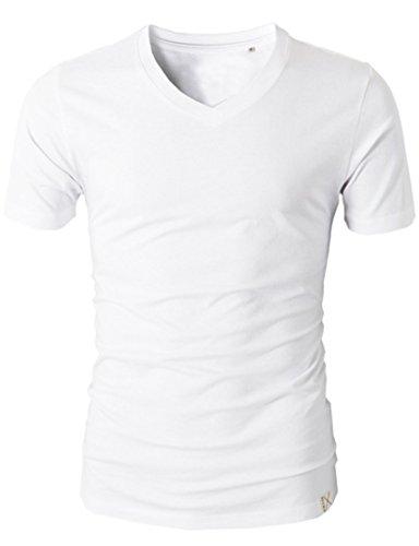REGNA X Basic men's U-neck cuffed sleeve slim fit spandex tee, White, Large,16001_White,Large