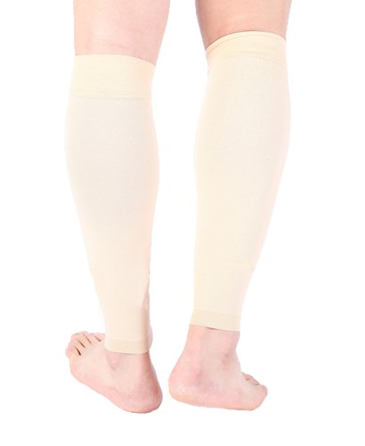Premium Calf Compression Sleeve 1 Pair 15-20 mmHg Firm Calf Support Multiple COLORS Graduated Pressure for Sports Running Muscle Recovery Shin Splints Varicose Veins Doc Miller (Pale Skin, - Best Colours For Skin Pale