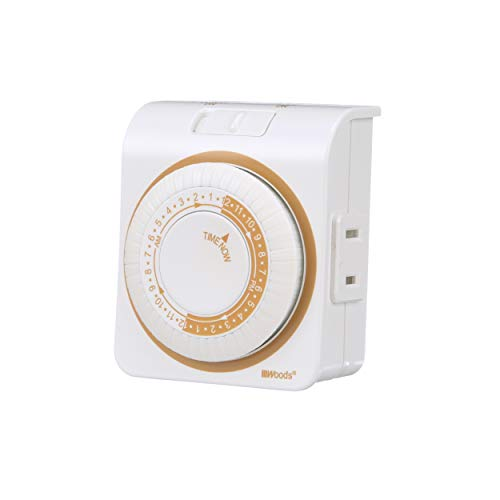 Woods 50000 Indoor Mechanical Timer, 125 V, 15 A, 30 Min Interval, Hr, 24 On/Off Cycles Per Day