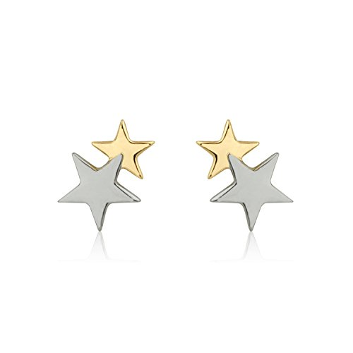 Solid 14K Yellow Gold and White Gold Double Star Kids Screwback (14k Star Earrings)