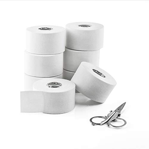 Sport Tape White (8 Rolls |1.5 inch x 45 Feet/Roll)- JuneBugz Zinc Oxide Medical Athletic Tape Cotton/First Aid Injury Wrap/Zigzag Edge/Easy Tearing/No Sticky Residue or Latex + Free Folding Scissors by JuneBugz Enterprises