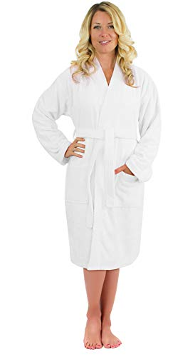 Luxurious Turkish Cotton Kimono Collar Super-Soft Terry Absorbent Bathrobes for Women (White, - Robes Cloth Monogrammed Terry