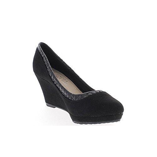 ChaussMoi Zapatos Negro Ante de Aspecto de Tacón Cuña Mujeres 7,5 cm y Pintado de La Frontera