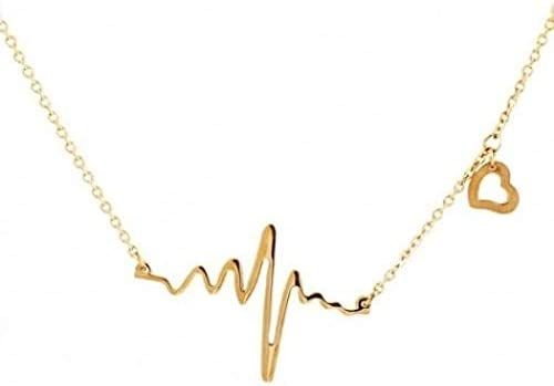 53614b0fa ECG Heartbeat Heart Pendant Necklace - Gold: Amazon.com ...
