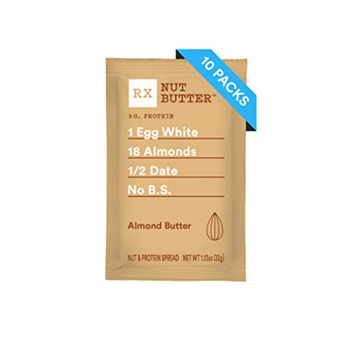 RXBAR, RX Nut Butter, Almond Butter, Low Carb, Keto Friendly, No Added Sugar, Gluten Free, 1.13 Ounce, Pack of 10 (Best Nut Butter For Keto)