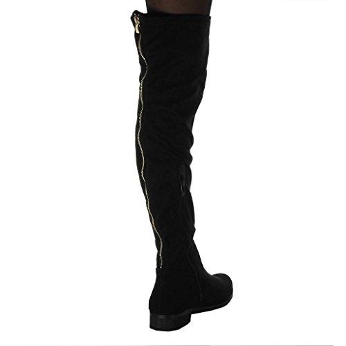 Blockabsatz Reitstiefel Oberschenkel Kavalier 3 Angkorly cm Flexible Schuhe Boot Schwarz Stiefel Damen Reißverschluss fawxpwqzT