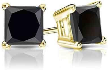 8d9c41210 1.00 CT Black Princess Cut CZ Diamond Stud Earrings in 18K Yellow Gold  Basket Screw Back