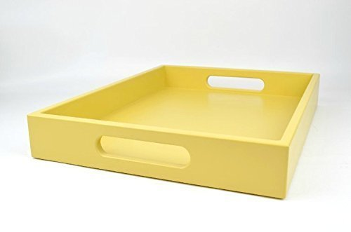 Large Ottoman Coffee Table Tray with Handles Golden Yellow