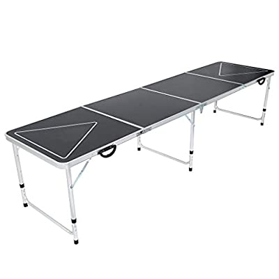 8-Foot Portable Beer Pong Table w/Optional Cup Holes & LED Lights Aluminum Adjustable foldable Indoor Outdoor Tailgate Party Drinking Games Squad Game Play for Picnics Camping Trips (Black-A, 8 FT) : Sports & Outdoors