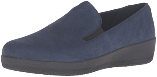 Mocassini In Pelle Super Fitk Fitflop Flat Midnight Navy Snake In Rilievo