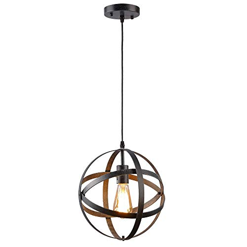 Create for Life Rustic Vintage Industrial Spherical Pendant Light, Metal Globe Ceiling Light Displays Changeable Hanging Light Fixture for Kitchen Over Island Dining Table Bedroom Hallway