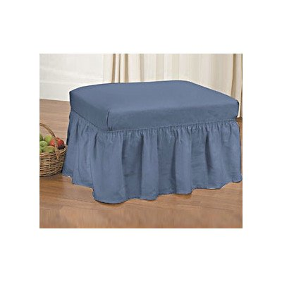 Sure Fit Duck Solid 2-Piece  - Ottoman Slipcover  - Bluestone (Sure Fit Duck Slipcover)