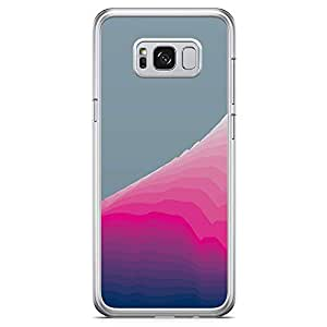 Samsung Galaxy S8 Transparent Edge Phone Case Waves Phone Case Minimalist Waves Phone Case Green And Pink Samsung S8 Cover with See through edges