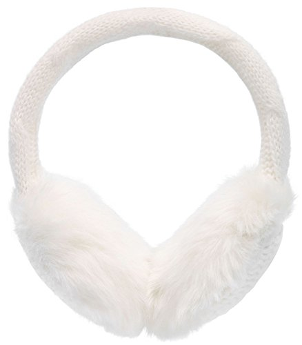 Simplicity Women's Winter Knitted Faux Fur Plush Earmuffs, White White Earmuffs