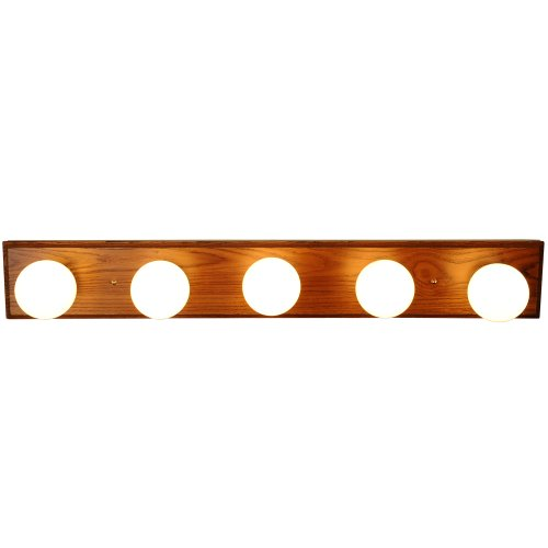 Monument 671613  Vanity Lighting Strip, Oak With Polished Brass Trim, 30 In.