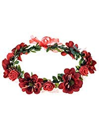 June Bloomy Rose Flower Leave Crown Bridal Halo Headband with Adjustable Ribbon (Red)
