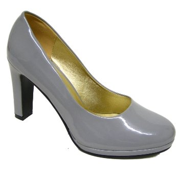 Womens Grey Platform Patent Ladies Court Shoes: Amazon.co.uk ...