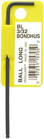 Tagged and Barcoded Bondhus 15705 3//32-Inch Ball End Tip Hex Key L-Wrench with ProGuard Finish Long Arm