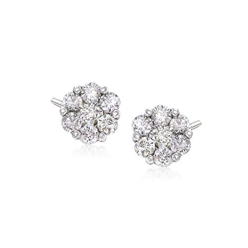 Ross-Simons 1.00 ct. t.w. Diamond Floral Cluster Stud Earrings in 14kt White Gold ()