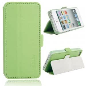 Side Open Leather Protective Case with Button for iPhone 5/5S Green