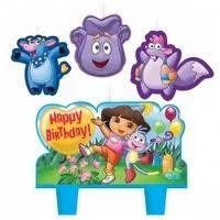 DORA THE EXPLORER Party CAKE TOPPER CANDLE Birthday Kit Set Decoration Cupcake for $<!--$5.95-->