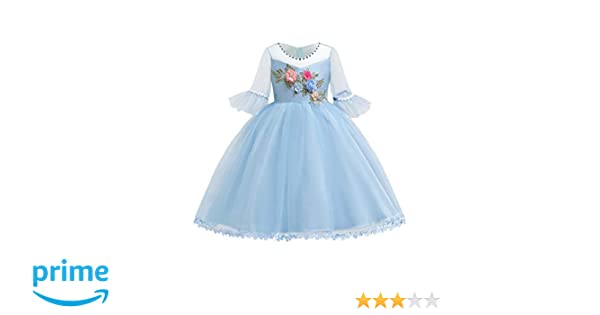 3ebdb2aaa50f7 Amazon.com: Blevonh Sky Blue Dress for Girl Lace Flower Girls Dress for  Sleeve Scoop Neck 3D Embroidered Flower Skin-Friendly Distinctive Evening  Party ...