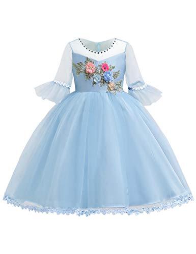- Blevonh Graduation Dresses for Kids Girls Poofy Dresses Bell Sleeve Hidden Zipper Form Fitting Flower Petals Fairy Pure Sweet Pageant Dress for Juniors Sky Blue 130(5-6 Years)