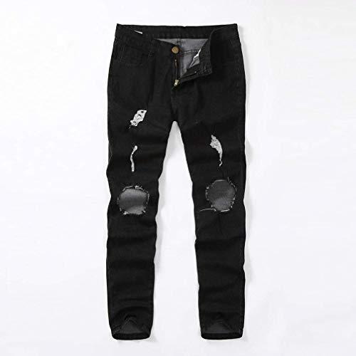 Effiloché En Pour Déchiré Fashion Hommes Pantalon Casual Vintage Noir Denim Détresse Jeans Mâle Stretch Slim AqIwxETxd