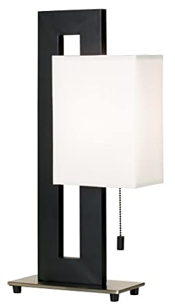Superior Floating Square Table Lamp In Black And Brushed Steel