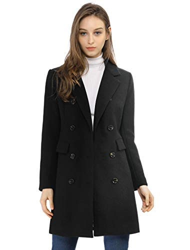 Allegra K Women's Long Jacket Notched Lapel Double Breasted Trench Coat L Blacks