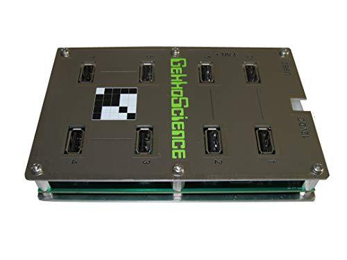 GekkoScience 7-Port USB 2.0 Base Hub ⋆ High Power 100W 5V 18A Total, ~3A Power per Port, Engineered for High Power & Performance ⋆ Perfect for USB Miners Bitcoin/Crypto [NewPac, 2PAC, Moonlander] (Hub Miner Usb)