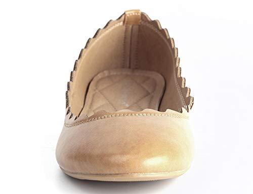 Femmes Plates Beige À Slip Dolly Ballerina On Chaussures Maxmuxun Volants TZwgTdOq