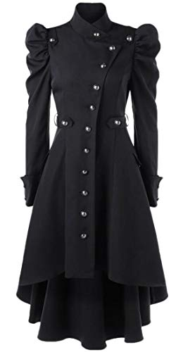 Victorian Renaissance Single Light - Pivaconis Women's Renaissance Single Breasted Steampunk Victorian Gothic Overcoat Jacket Black L