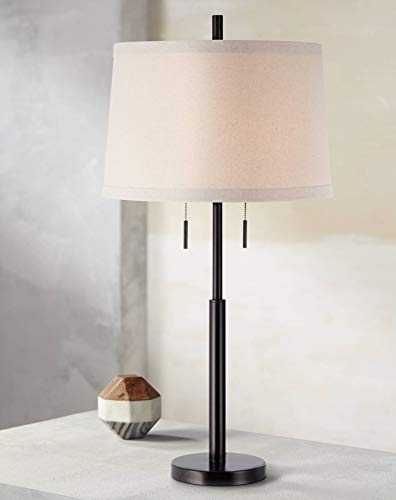 Modern Table Lamp Dark Bronze Metal Column Off White Burlap Shade for Living Room Family Bedroom Bedside - Possini Euro Design (Buffet Contemporary Lamps Table)