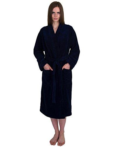 TowelSelections Women's Robe, Fleece Cotton Terry-Lined Water Absorbent Bathrobe Small/Medium Navy