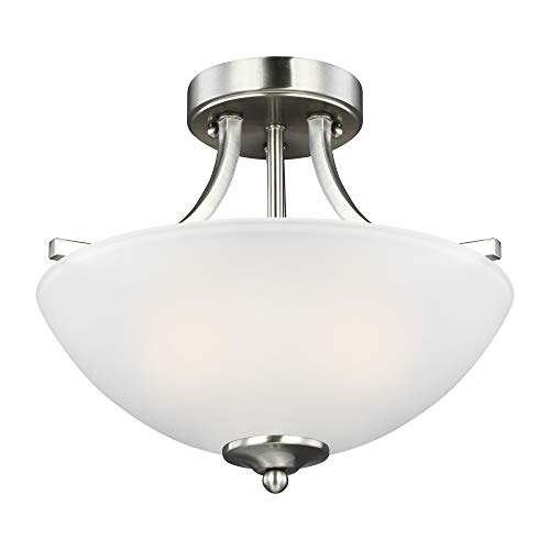 Sea Gull Lighting 7716502-962 Geary Small Two-Light Semi-Flush Convertible Pendant Hanging Modern Light Fixture, Brushed Nickel Finish (Semi Flush Pan)