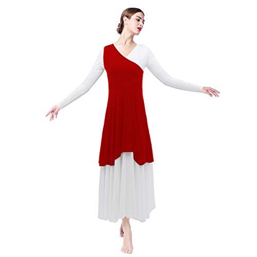 Women Asymmetrical Color Block Liturgical Praise Lyrical Dance Tunic Dress Irregular Loose Fit Full Length Long Sleeve Pullover Vest Worship Costume Ballet Dancewear Celebration of Spirit Red L ()