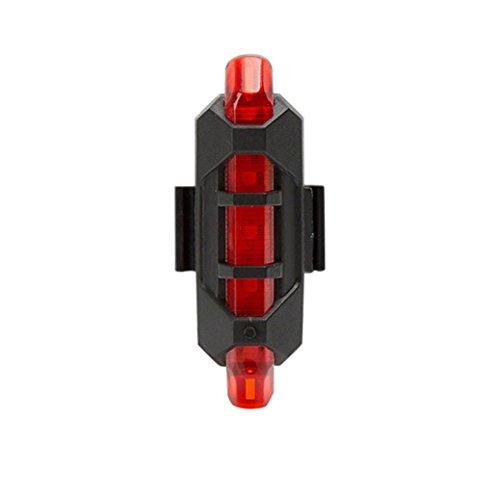 Vovotrade - Nuevo Ciclismo 5 LED USB Recargable Bicicleta Lámpara Cola Advertencia Ligero Posterior La Seguridad (Blanco) Rojo