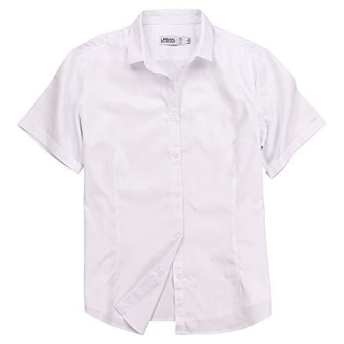 (Women's 100% Cotton Classic Short Sleeve Shirt (White, Large))