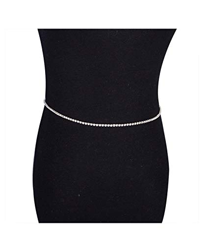 - Mooinn Crystal Rhinestone Waist Chain Silver Tone Link Chain Belt Belly Body Jewelry for Women