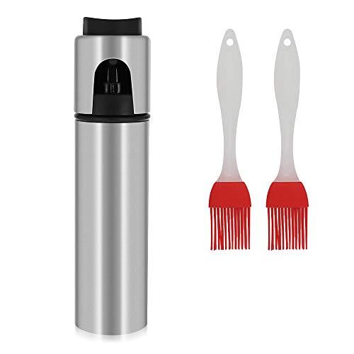 yer Stainless Steel Portable Oil Dispenser Vinegar Bottle for Kitchen, Grill/Pan Greaser, Salad Dressing Mister, Refill Olive Canola Vegetable Coconut Vinegar + 2 bursh ()