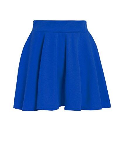 GUBA® Girls Children Back to School High Waisted Stretch Plain Flippy Flared Short Skater Skirts Size 5-13 Years (Royal Blue, 9-10 -